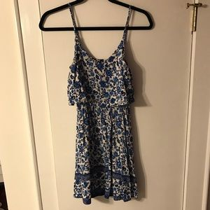 Divided H&M Blue and White Floral Sun Dress